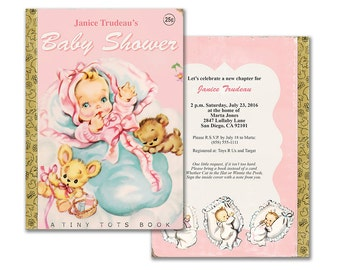 Book themed baby shower invitation printable baby shower etsy printable baby girl storybook shower invitation pink vintage book themed invite editable pdf customize it yourself instant download filmwisefo