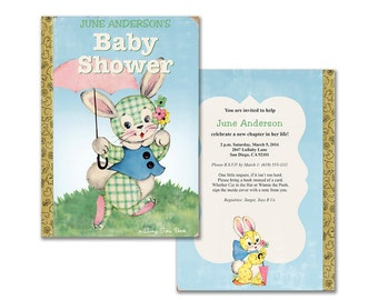 Vintage baby book shower invitation diy baby boy printable etsy bunny book baby shower invitation printable invitation gender neutral storybook themed shower editable pdf add your own text filmwisefo