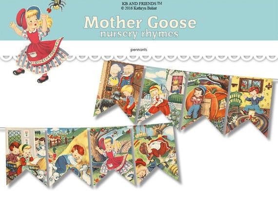 photograph about Printable Pennants named Nursery rhymes bunting / Mom Goose printable pennants