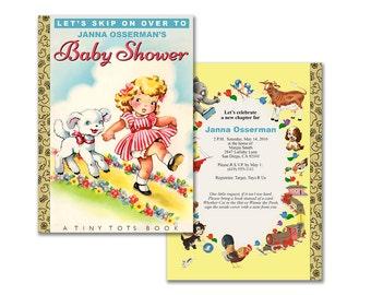 Storybook baby shower invitation / DIY printable invitation / vintage nursery rhyme book theme / editable PDF/ customize it yourself
