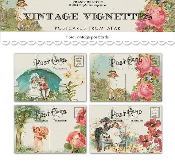 Vintage printable postcards / romantic vignettes of children