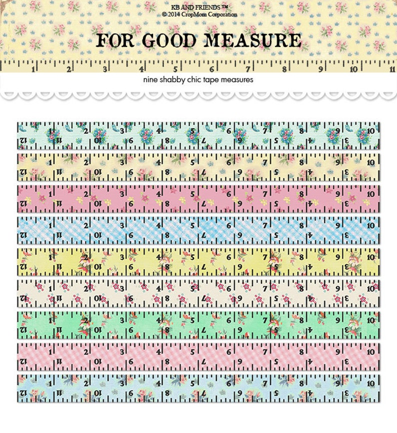graphic relating to Printable Tape Measures named Electronic Shabby Stylish Tape Techniques / rulers / typical floral collage sheet / improved artwork / downloadable / printable