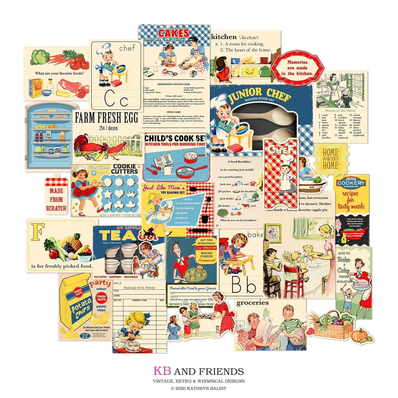Printable Retro Kitchen Ephemera by KB and Friends