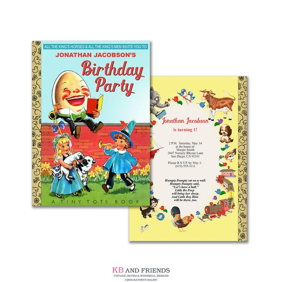 Nursery Rhyme Birthday Invitation Printable Humpty Dumpty Mother Goose Editable PDF Book Themed Party Add Your Text