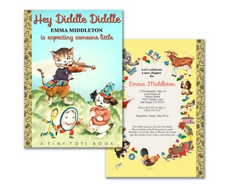 Nursery rhyme book baby shower invitation / printable invitation / Hey Diddle Diddle vintage storybook theme shower / editable PDF / neutral
