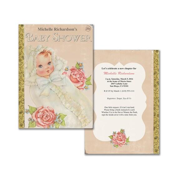 Vintage baby shower invitation book themed baby shower etsy image 0 filmwisefo