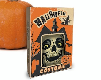 """Printable Vintage Halloween Costume Box / skull, witch / digital 5"""" by 7"""" by 1.25"""" box template for candy, gifts, crafts, diorama, shadowbox"""
