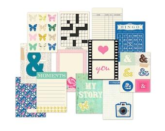 """Printable camera journaling cards / pocket scrapbooking / digital pocket cards / digital collage sheet / 12 filler cards / 3"""" x 4"""""""