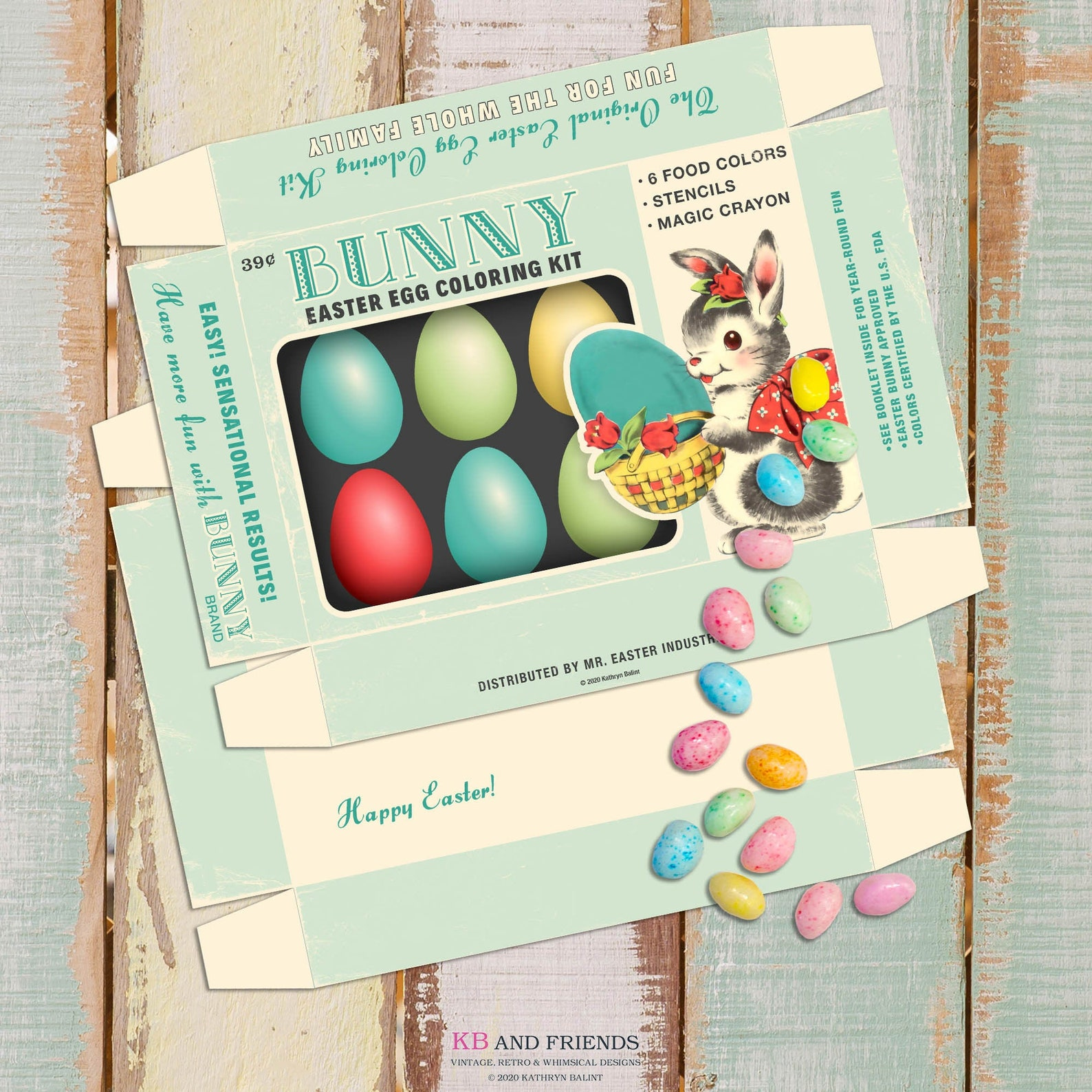 KB and Friends Printable Retro Easter Egg Coloring Box with Bunny