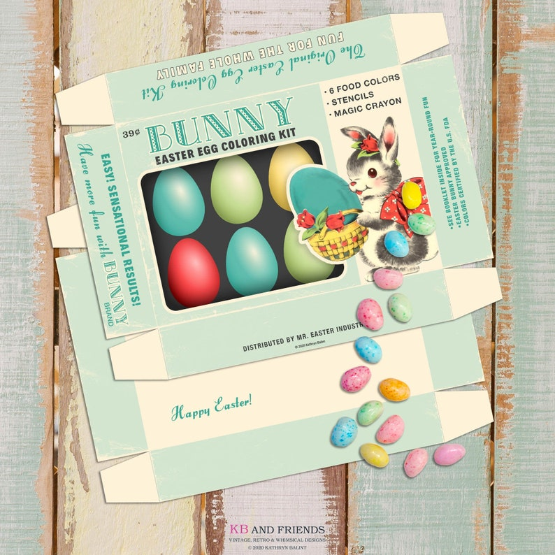 Printable Retro Easter Egg Coloring Box with Bunny / 5 X image 0
