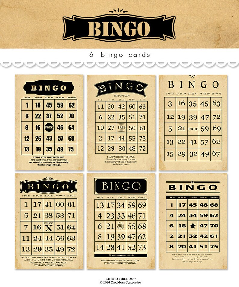 Digital Vintage Bingo Cards for Crafts / black tan bingo image 0