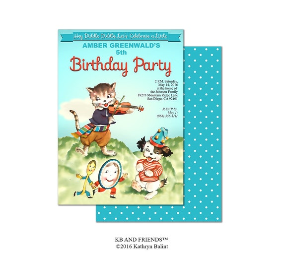Nursery Rhyme Birthday Party Invitation Printable