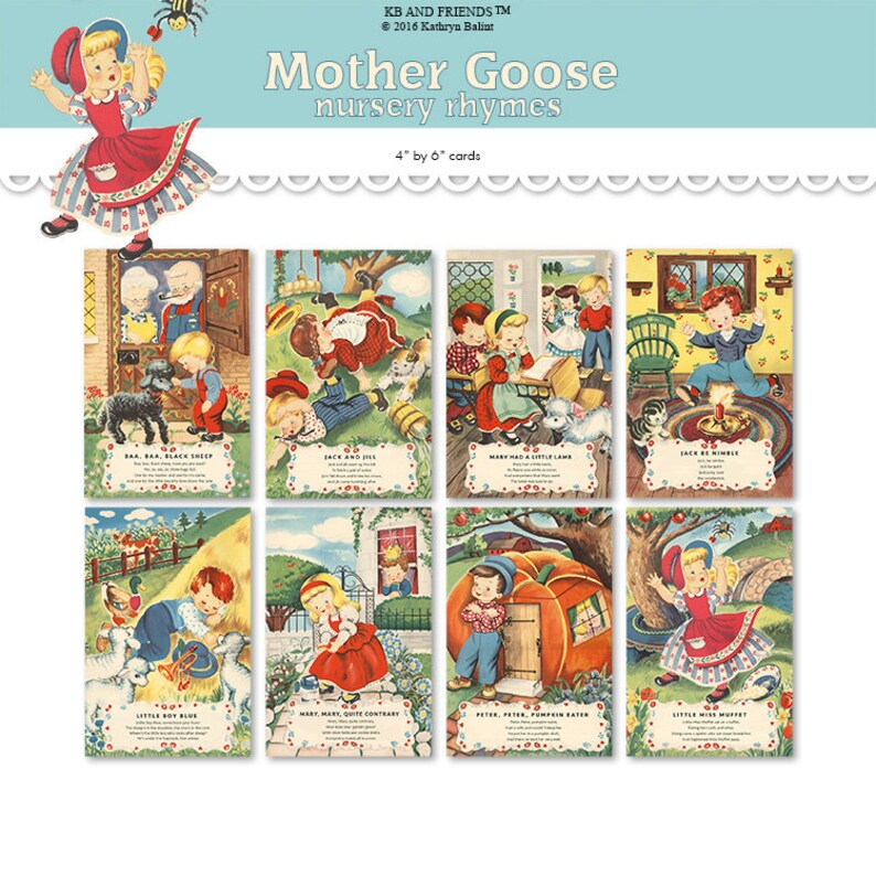 photo about Printable Nursery Rhyme titled Printable nursery rhyme playing cards/ printable PDF / electronic collage sheet / 4\
