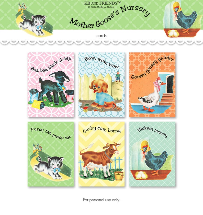 photo about Animal Cards Printable known as Nursery rhymes playing cards / printable playing cards / Mom Goose pets / electronic collage sheet / 2.5\