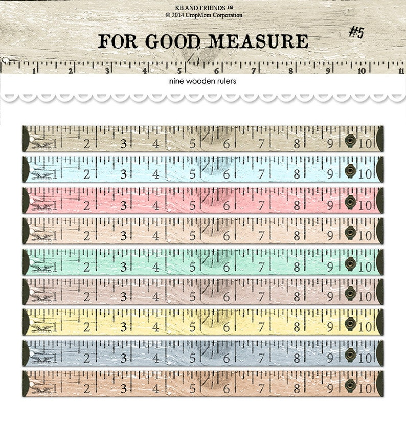 picture relating to Printable Tape Measures identified as Printable picket rulers / electronic picket tape ways / printable measuring tape / electronic collage sheet / sbooking embellishment