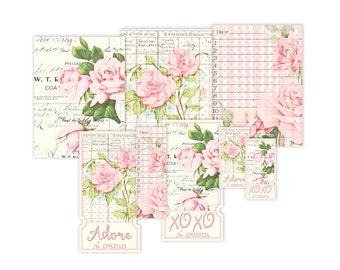 Shabby chic rozen afdrukbare tickets en kaarten / floral vintage collage blad / instant download / decoratie / digitale scrapbooking