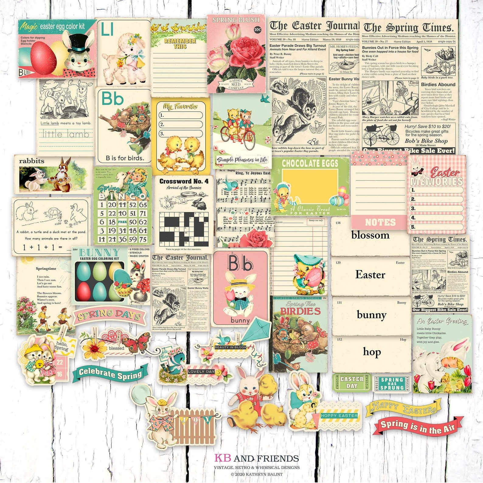 KB and Friends Retro Easter Spring Digital Ephemera & Journaling Cards