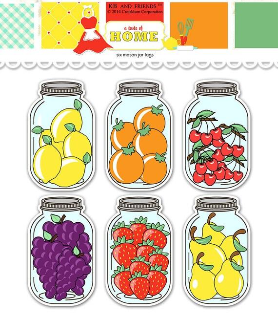 fruit mason jar tags printable food labels digital collage sheet