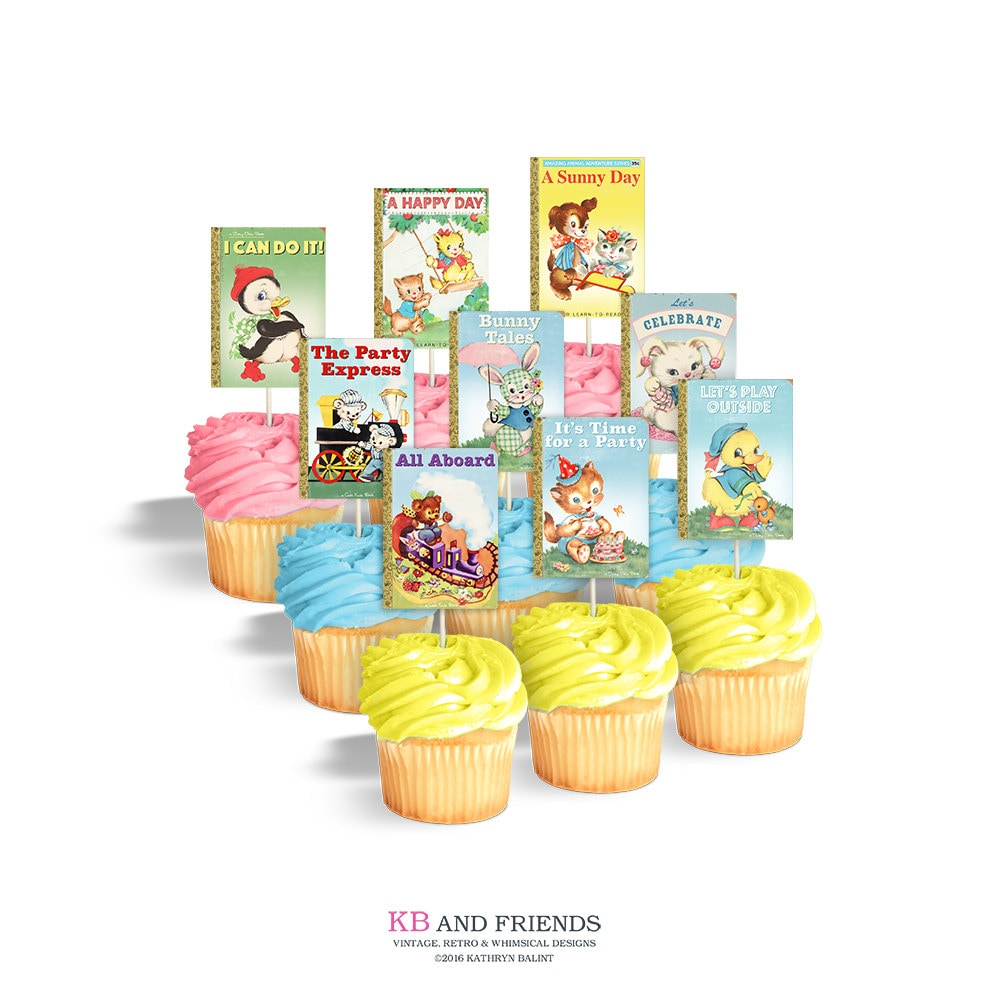image about Printable Cupcake identify Printable cupcake toppers for storybook themed occasion or kid shower / cake bunting / traditional animal ebook protect / printable rectangles / tags
