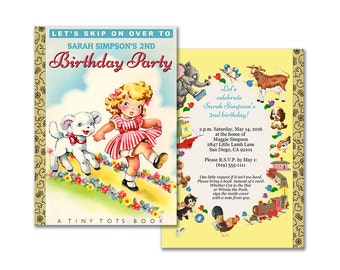 Storybook birthday invitation / DIY printable invitation / digital vintage nursery rhyme book theme / Mary had a little lamb / editable PDF