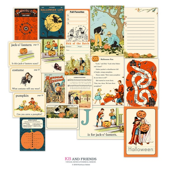 graphic about Vintage Halloween Printable named Common Halloween journaling playing cards / printable, electronic sbooking / 18 pocket playing cards / 4\