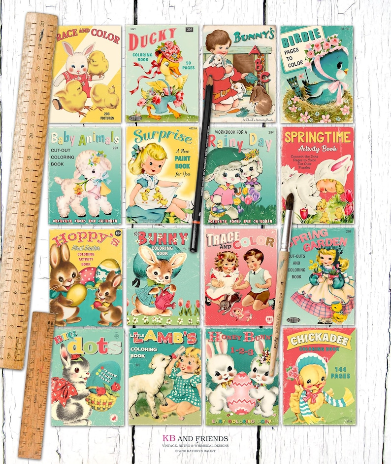 Retro Easter Spring Printable Children's Coloring Book Covers
