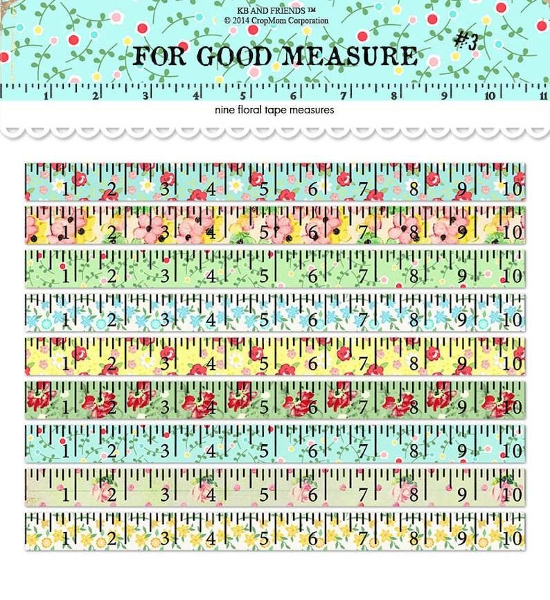 image about Printable Tape Measures named Electronic Floral Tape Ways / rulers / basic floral collage sheet / adjusted artwork / downloadable / printable