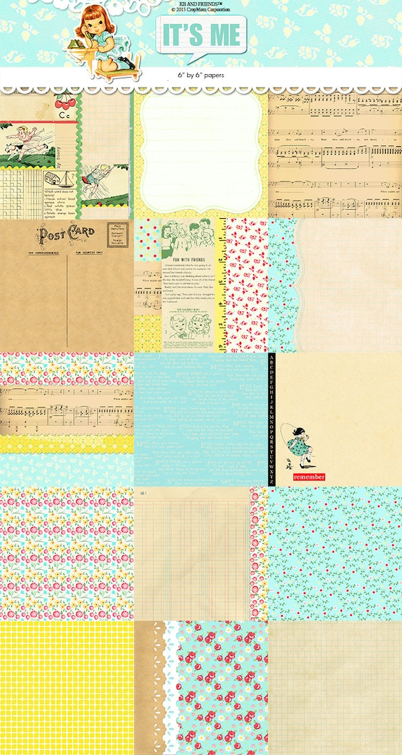 Digital Whimsical Vintage Background Papers Printable Jpeg 6 By 6 Floral Retro Children Collage Ledger Postcard Shabby Chic By Kb And Friends Catch My Party