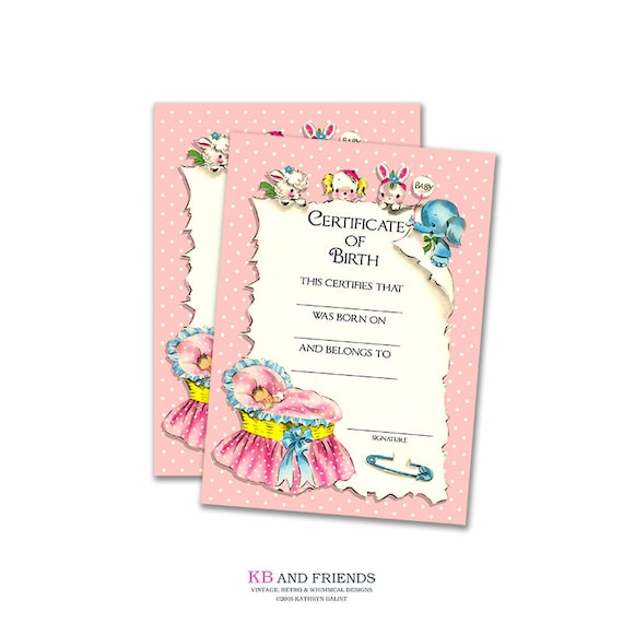 photograph about Printable Birth Certificate named Printable crimson boy or girl doll beginning certification / instantaneous