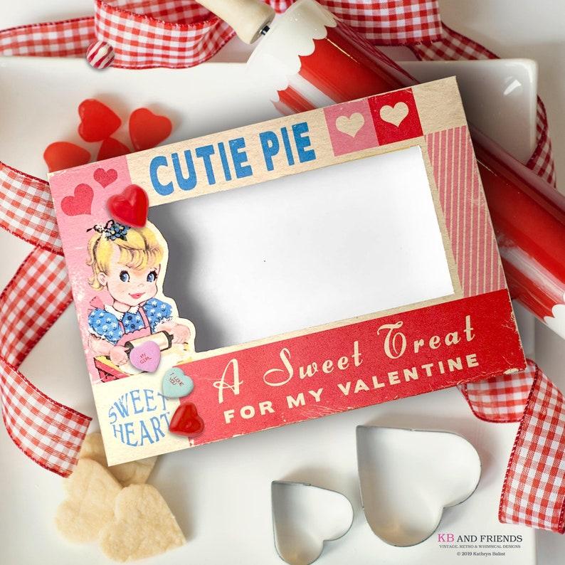 Retro Cutie Pie Printable Valentines Day Treats Box  / digital image 0