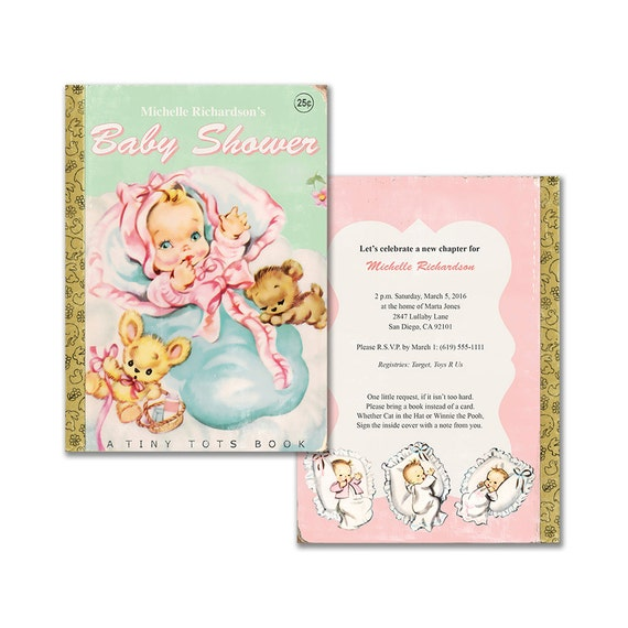 Printable Book Themed Baby Girl Shower Invitation Vintage Baby