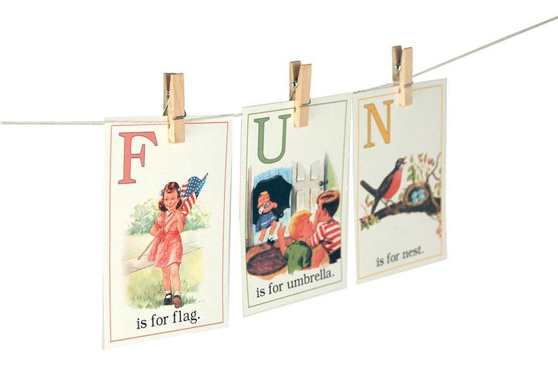 Digital retro children ABC flashcards / 5