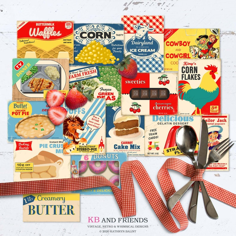 Printable Retro Food Box Tops / 16  printable cards 2 sizes / image 0