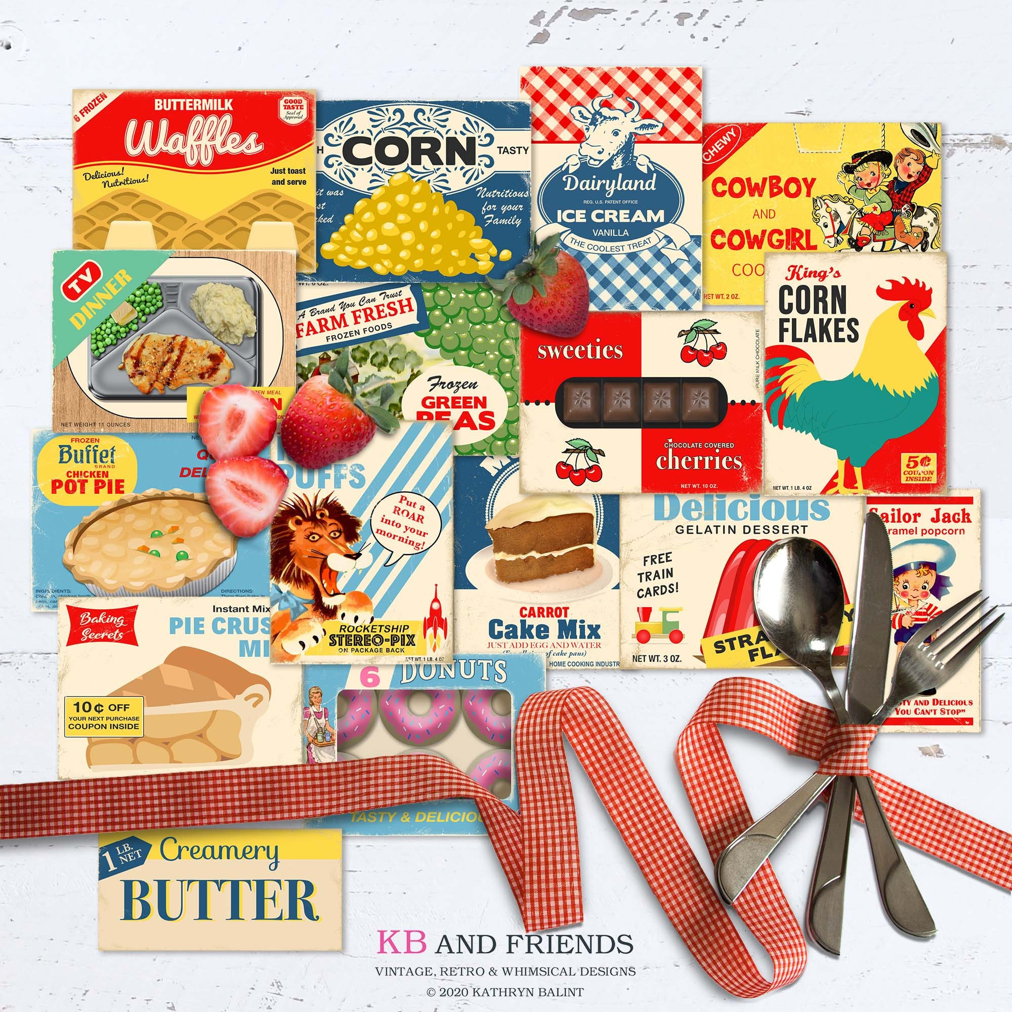Printable Food Box Tops by KB and Friends