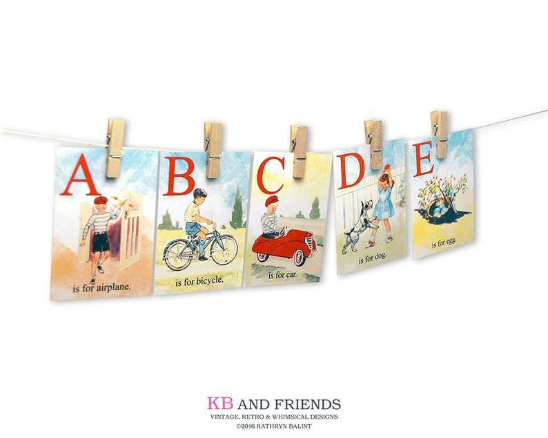 Printable vintage children ABC flashcards / 5 x 7 / digital image 0