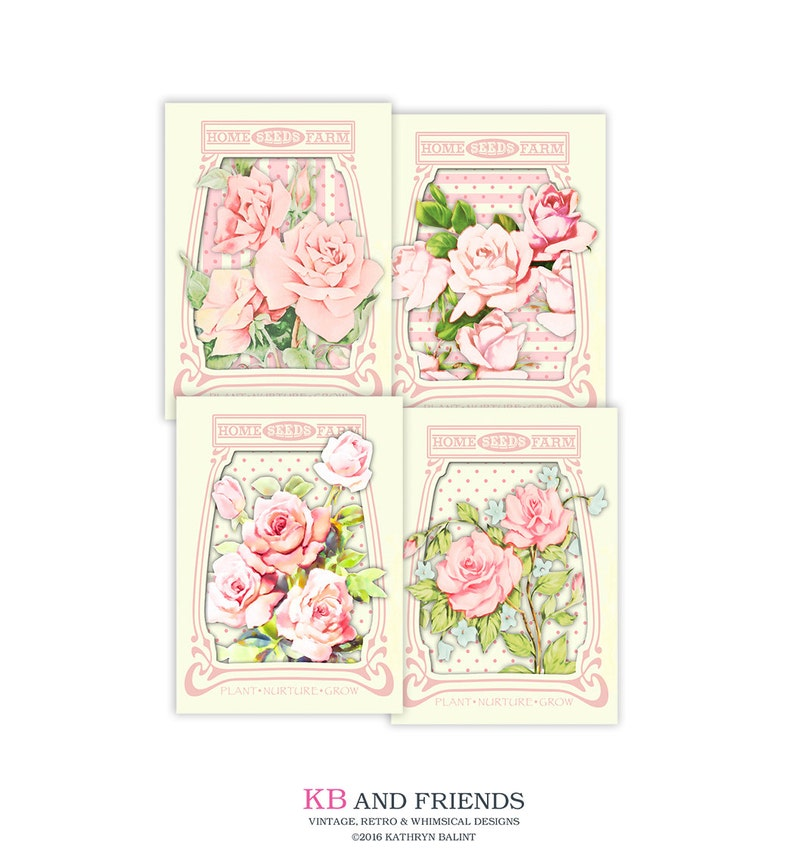 image relating to Printable Seed Packets named Printable shabby stylish roses seed packets / common playing cards / electronic collage sheet / fast down load / downloadable / 3 x 4 and 2.5 x 3.5