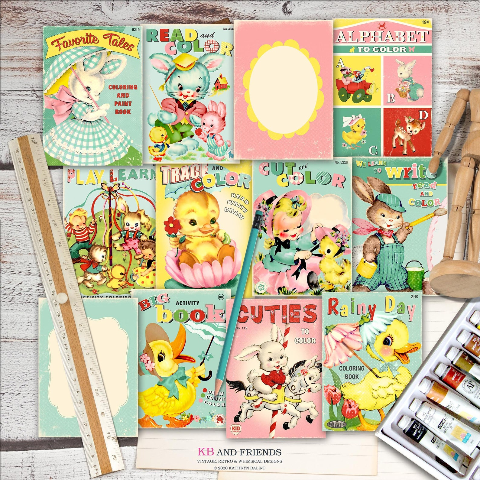 KB and Friends Printable Retro Spring Coloring Book Covers