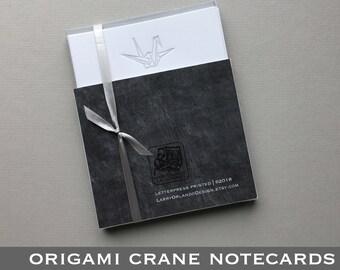 Letterpress Origami Crane Notecards (6/set)