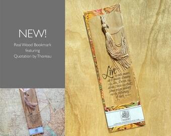 Real Wood Bookmark with Thoreau Quotation