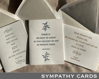 Letterpressed Literary Sympathy Cards