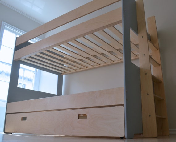 Modern bunk bed with trundle etsy