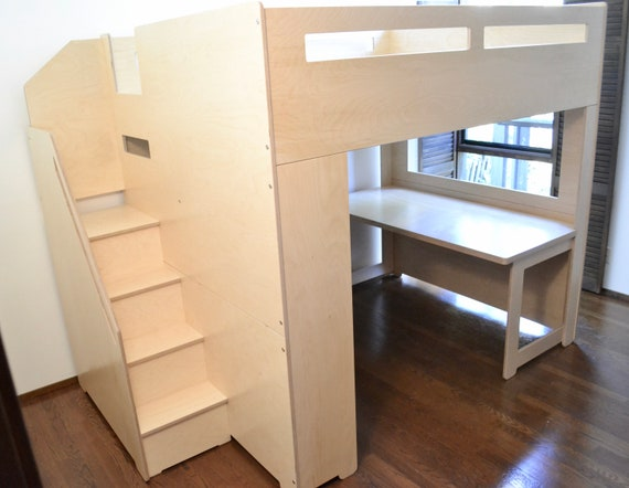 Queen Loft Bed With Study And Storage Etsy