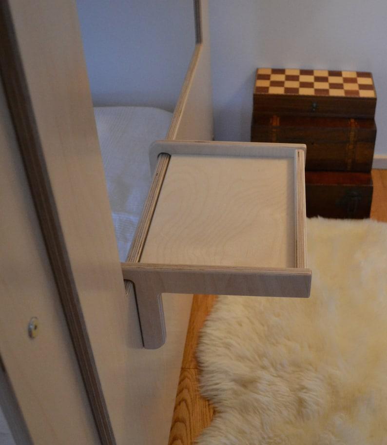 Bunk bed hook over shelf