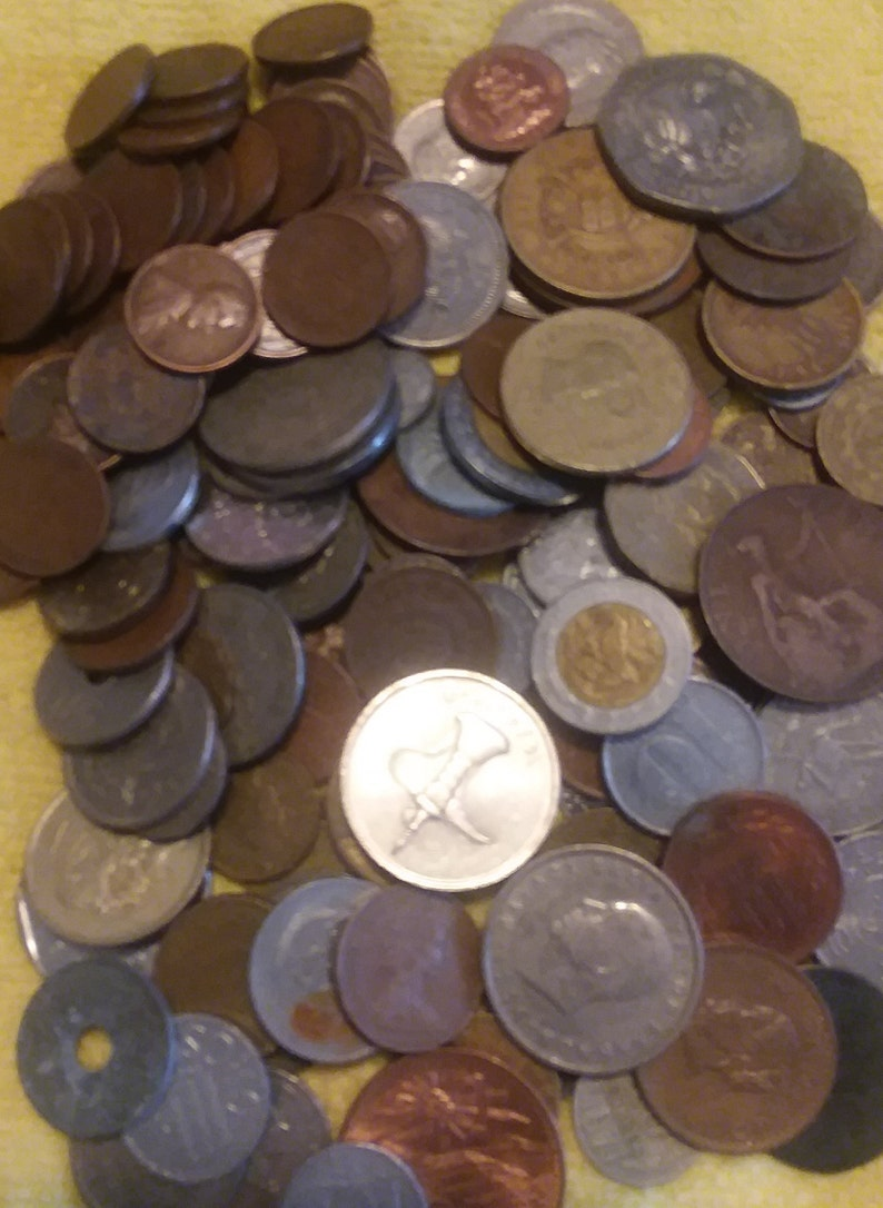 Foreign Coins 1 Pound For Starter or Existing Collections or Jewelry  Explore the World with Coins Plus 50 Wheat Pennies Bonus Free Shipping