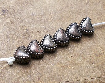 Rustic Metal Beads - 6 Tiny Heart Beads - Dark Oxizided Stylized Hearts - Studded Border, Chubby Lightweight Romantic Spacers