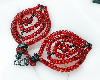 Handmade Bead and Wire Charms | 2 Rustic Leaves | Dark Steel Wire, Sparkly Red Glass Seed Beads | Lightweight Charms | Earring Supply