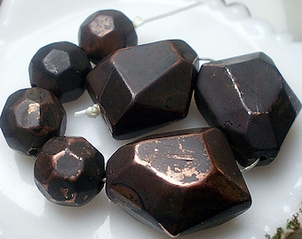 Rustic Oxidized Metal Beads - 7 Chunky Faceted Metal Beads - 14mm 21mm - Geometric Nuggets & Rounds, Dark Gold Tone Bead Set