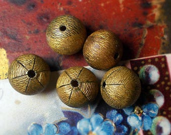 Vintage Hollow Oxidized Metal Beads | 5 Gold Tone Textured Rounds  | 13mm Brushed Gold w Perforated Fluted End | 1980s Unusual Metal Beads