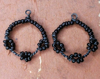 Handmade Bead and Wire Charm Connectors | 2 Rustic Rounds | Dark Steel Wire, Black Glass Seed Beads | Lightweight Charms | Earring Supply
