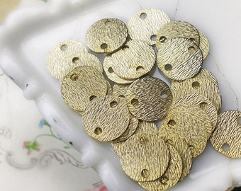 Vintage Metal Connectors | 4 Coin Discs | Textured Gold Tone Metal | 13mm | Fancy Metal Charm Connectors for Earrings & Assemblage Jewelry